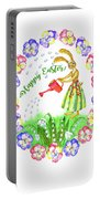 Welcome Spring.rabbit And Flowers Portable Battery Charger