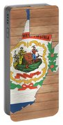 West Virginia Rustic Map On Wood Portable Battery Charger