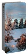 Winter Sunset In Weyburn Portable Battery Charger