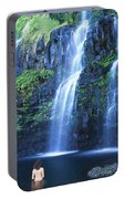 Woman At Waterfall Portable Battery Charger