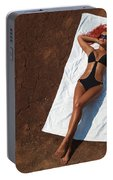 Woman Sunbathing Portable Battery Charger