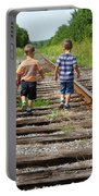 Young Boys On Railway Tracks Portable Battery Charger