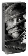 Young Expressive Woman Tied In Ropes Portable Battery Charger