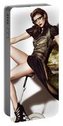 Young Woman In Long Dress On Exercise Bike Portable Battery Charger