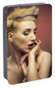 Young Woman With Glittered Fingers And Lips Portable Battery Charger