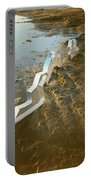 Zinc Sculptures On The Beach At Sunset Portable Battery Charger