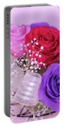 A Gift Of Preservrd Flower And Clay Flower Arrangement, Colorful Portable Battery Charger