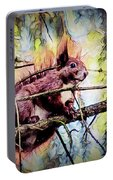 11452 Red Squirrel Sketch Square Portable Battery Charger