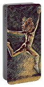 1307s-dancer Leap Fit Black Woman Bare And Free Portable Battery Charger by Chris Maher