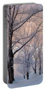 Amazing Landscape With Frozen Snow Covered Trees At Sunrise   Portable Battery Charger