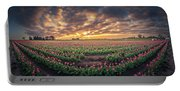 180 Degree View Of Sunrise Over Tulip Field Portable Battery Charger