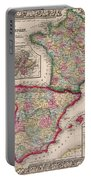 1800s France, Spain And Portugal County Map Color Portable Battery Charger