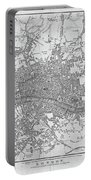 1800s London Map Black And White London England Portable Battery Charger