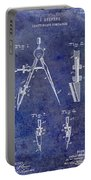 1888 Draftsmans Compass Patent Blue Portable Battery Charger
