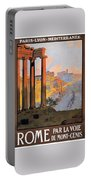 1920 Paris To Rome Train Travel Poster Portable Battery Charger
