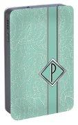 1920s Blue Deco Jazz Swing Monogram ...letter P Portable Battery Charger