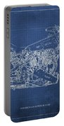 1939 Brough Superior Ss100 Blueprint Blue Background Portable Battery Charger