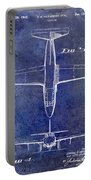 1949 Airplane Patent Drawing Blue Portable Battery Charger