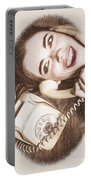1950s Pinup Girl Talking On Retro Phone Portable Battery Charger