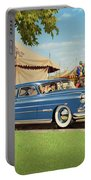 1951 Hudson Hornet - Square Format - Antique Car Auto - Nostalgic Rural Country Scene Painting Portable Battery Charger