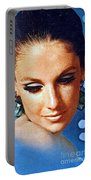 1960 70 Stylish Lady In Blue Portable Battery Charger
