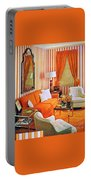 1960 70 Stylish Living Room Advertisement Orange And Stripes Groovy Baby Portable Battery Charger