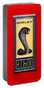 1967 Ford Shelby Gt 500 Cobra Fender Emblem On Red Portable Battery Charger