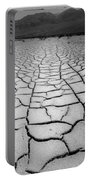 1a6832 Bw Mud Cracks In Death Valley Portable Battery Charger
