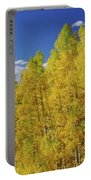 Beautiful Fall Season Nature Renews Itself  Theme Green Trees Mountain N Sky View   Save The Environ Portable Battery Charger
