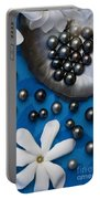 Black Pearls And Tiare Flowers Portable Battery Charger