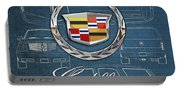 Cadillac 3 D Badge Over Cadillac Escalade Blueprint  Portable Battery Charger