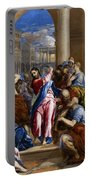 Christ Driving The Money Changers From The Temple Portable Battery Charger