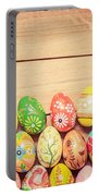 Colorful Hand Painted Easter Eggs On Wood Portable Battery Charger