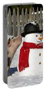 Curious Piglets And Snowman Portable Battery Charger