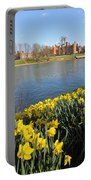 Daffodils Beside The Thames At Hampton Court London Uk Portable Battery Charger