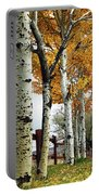 Fenceline Of Fall Aspens Portable Battery Charger