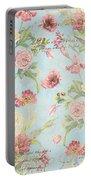 Fleurs De Pivoine - Watercolor In A French Vintage Wallpaper Style Portable Battery Charger
