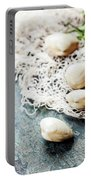 Food Background With Seafood And Wine Portable Battery Charger