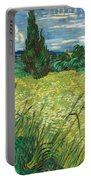 Green Wheat Field With Cypress Portable Battery Charger