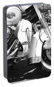 White Harley Davidson Bw Portable Battery Charger by Stefano Senise