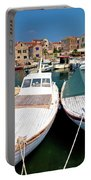 Island Of Prvic Harbor And Waterfront View In Sepurine Village Portable Battery Charger