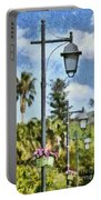 Lampost With Flowers In Nafplio Town Portable Battery Charger