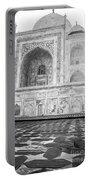 Monochrome Taj Mahal - Sunrise Portable Battery Charger