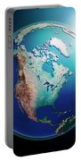 North America 3d Render Planet Earth Dark Space Portable Battery Charger