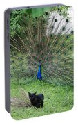 2 Peacocks And A Black Pussy Cat Portable Battery Charger