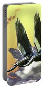 Psychedelic Metal Sculpture Of Two Swans Flying Portable Battery Charger