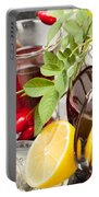 Rosehip Tea With Honey And Lemon In Glass Portable Battery Charger