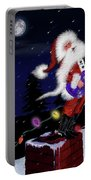 Santa Plays Guitar In A Snowstorm Portable Battery Charger