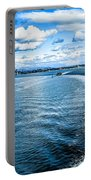 Seattle Washington Cityscape Skyline On Partly Cloudy Day Portable Battery Charger