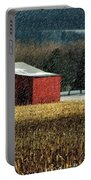 Snowy Red Barn In Winter Portable Battery Charger